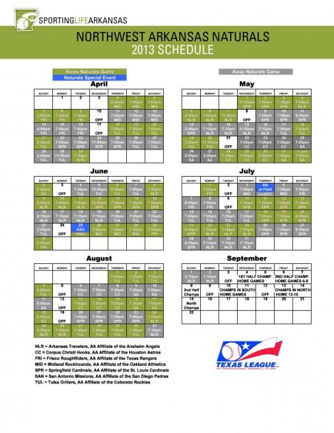 Northwest Arkansas Naturals Schedule | Schedule | Naturals