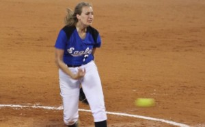 Krista Hendrix throws complete game for Williams Baptist College Eagles.