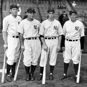 Bill Dickey with fellow Yankees