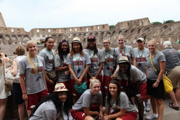 Razorback women's basketball team in italy 5