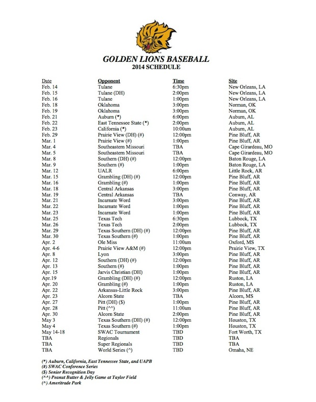 uapb baseball schedule copy