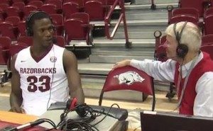 Razorback basketball with Moses Kingsley