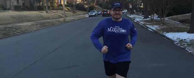 Jeremy Hinton training for Little Rock Marathon