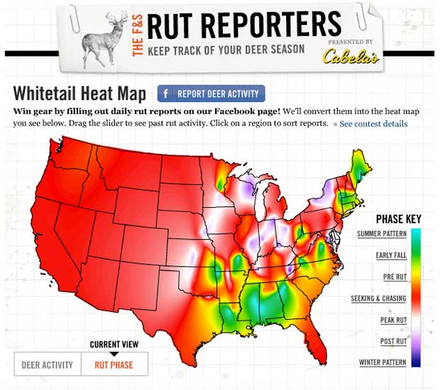 Whitetail Activity & Rut Report - Interactive Map - Sporting ... on deer hunting heat map, georgia regions map, alabama population density map, alabama deer density map, georgia habitat map, deer moon phase chart 2014,