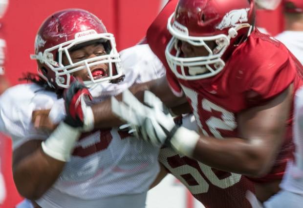 Arkansas football practice reports razorbacks defense