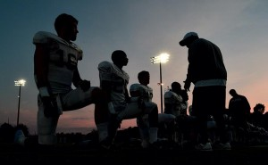 Arkansas football preseason razorback football in the sunset