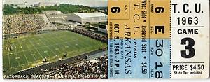 Razorback football tickets baylor 1963