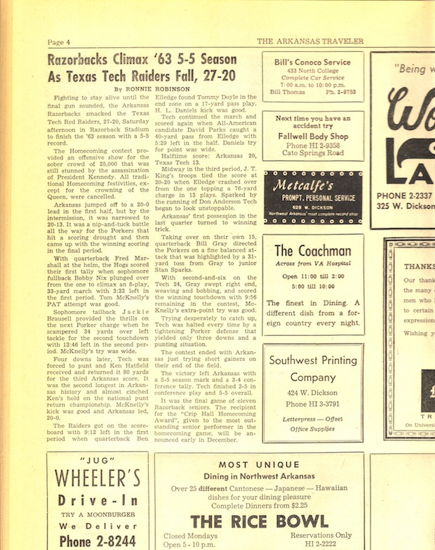 50 Years Ago - The JFK Assassination and a Razorback Game ron robinson