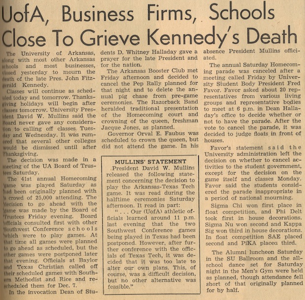 50 Years Ago - The JFK Assassination and a Razorback Game traveler