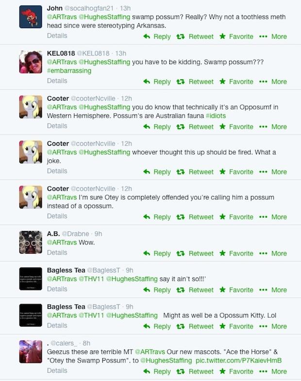 New Arkansas Travelers Mascots twitter response