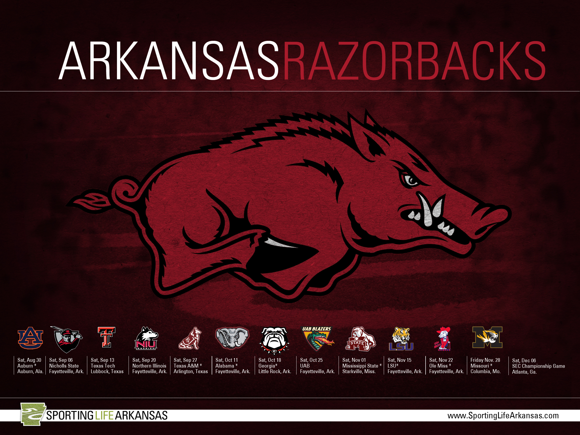 Arkansas Razorback Football Schedule