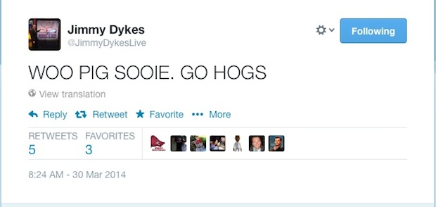 jimmy dykes calls the hogs